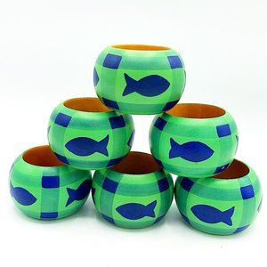 Set of 6 Blue and Green Fish Wooden Napkin Rings